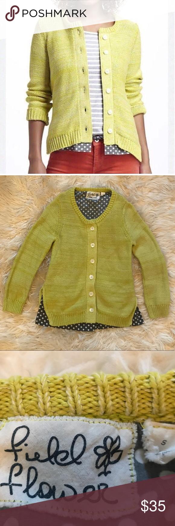 Anthro Field Flower Yellow Sweater w/ Polka Dots | Polka dot shirt ...