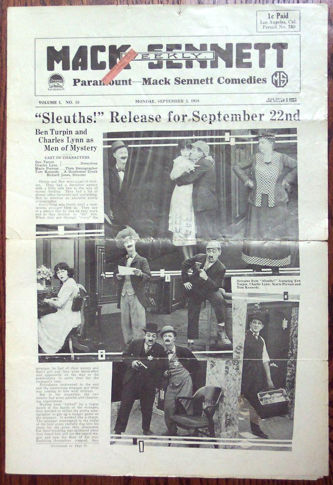 Mack Sennett Weekly 1918 Silent Film Comedy Paramount Movie Studio Publication Paramount Movies Silent Film Movie Studio