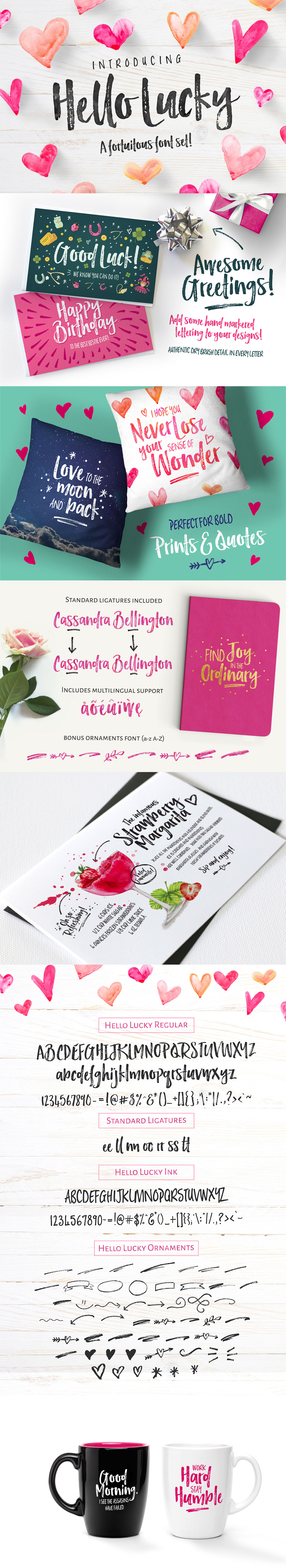 Hello Lucky Font Set Creative market fonts, Hand