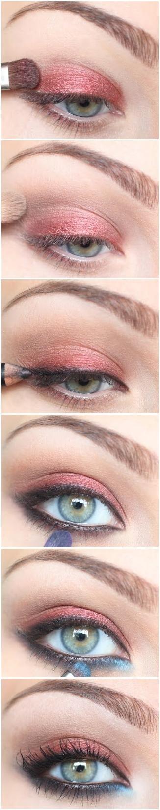 eyeshadow: coral shadow on top, light blue in the lower inner corner