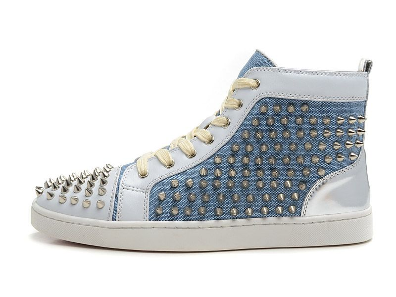 Christian Louboutin LOUIS FLAT SPIKES Chaussures Pour Homme Gris/Blanc ·  Cheap High TopsComfortable ...