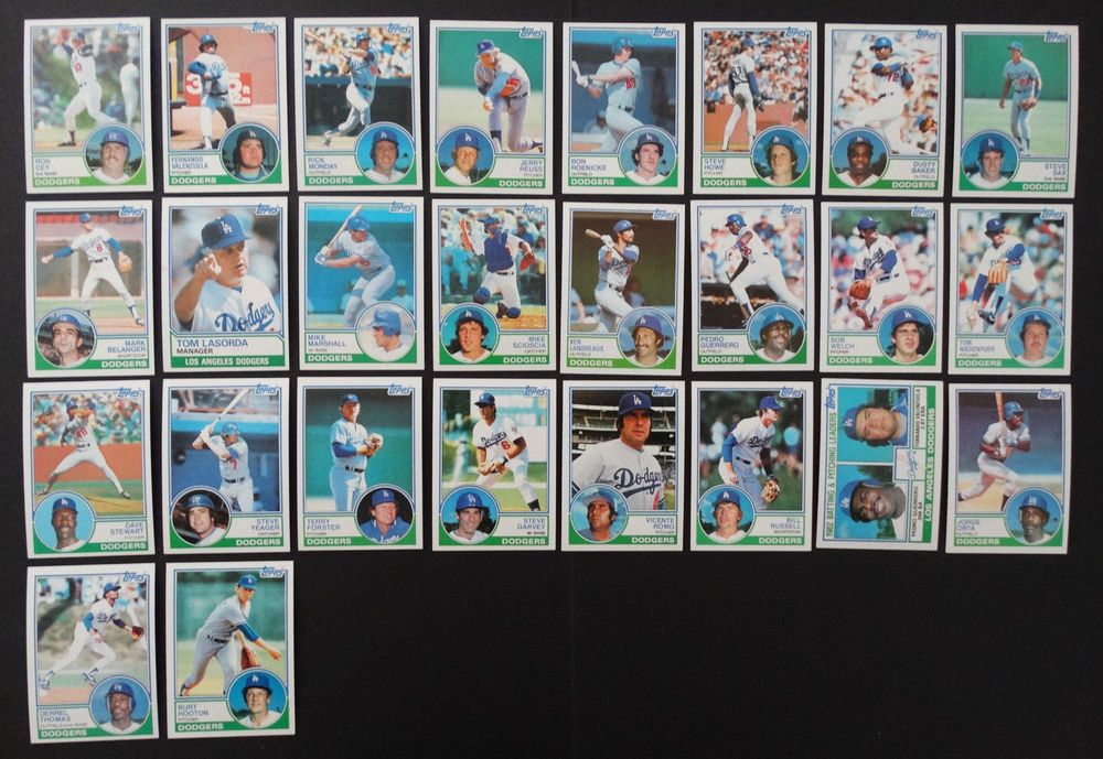 1983 topps los angeles dodgers team set of 26 baseball