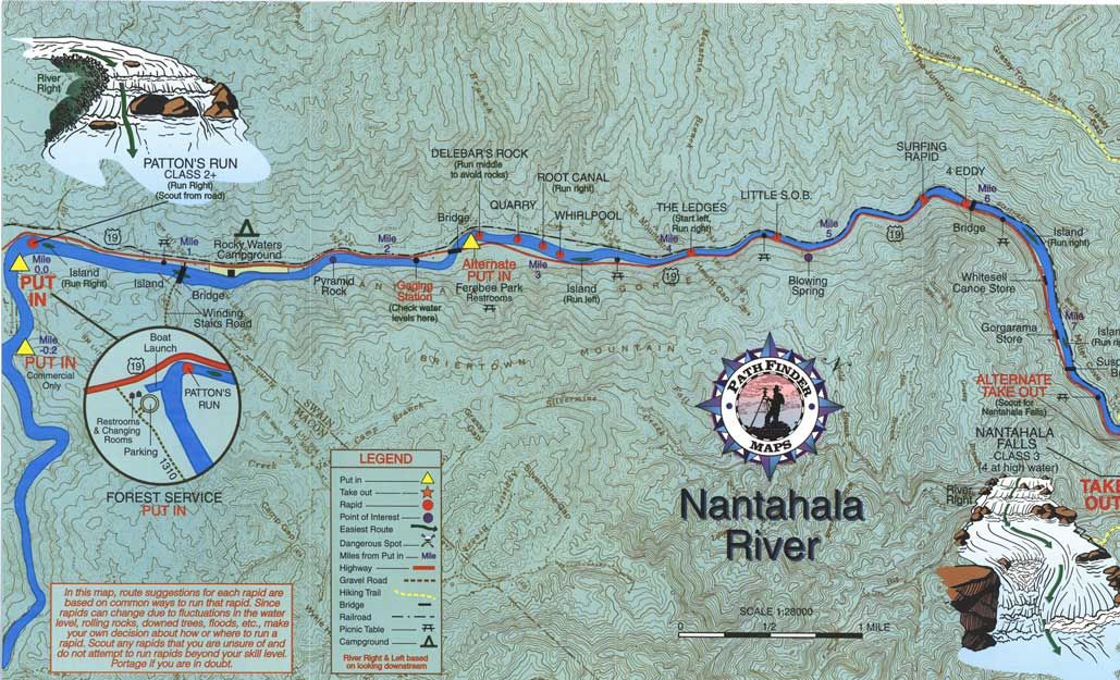 Nantahala River Map nantahala river   Nantahala river map white water rafting   River