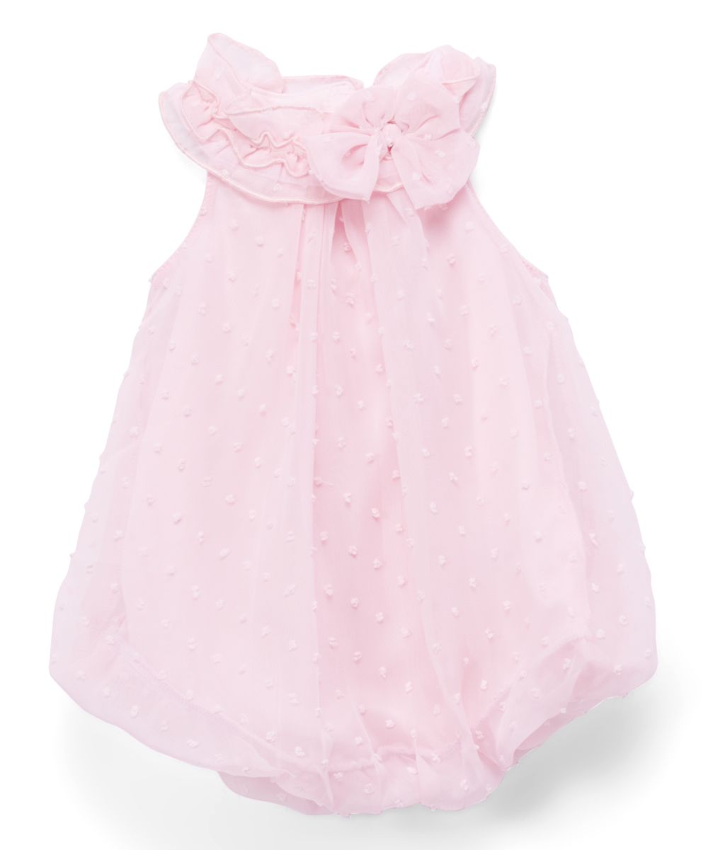 f6557674a Pink Swiss Dot Bow Bubble Romper - Infant
