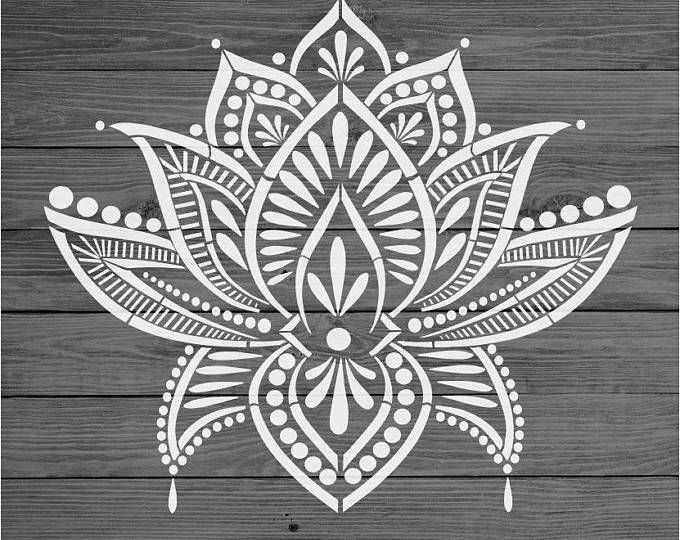 Mandala Stencil Prosperity - Mandala Stencils for Furniture, Walls, or Floors - Mandalas for DIY Home Decor - Stencils Better than Decals #lotusflower