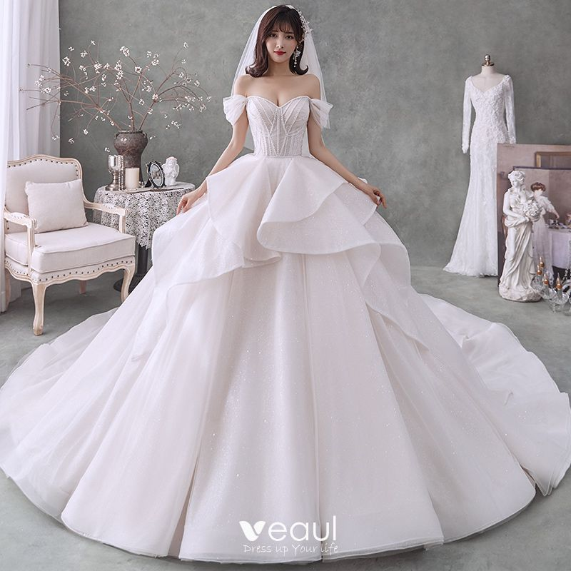 Romantic Champagne Bridal Wedding Dresses 2020 Ball Gown