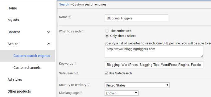 Google AdSense Search