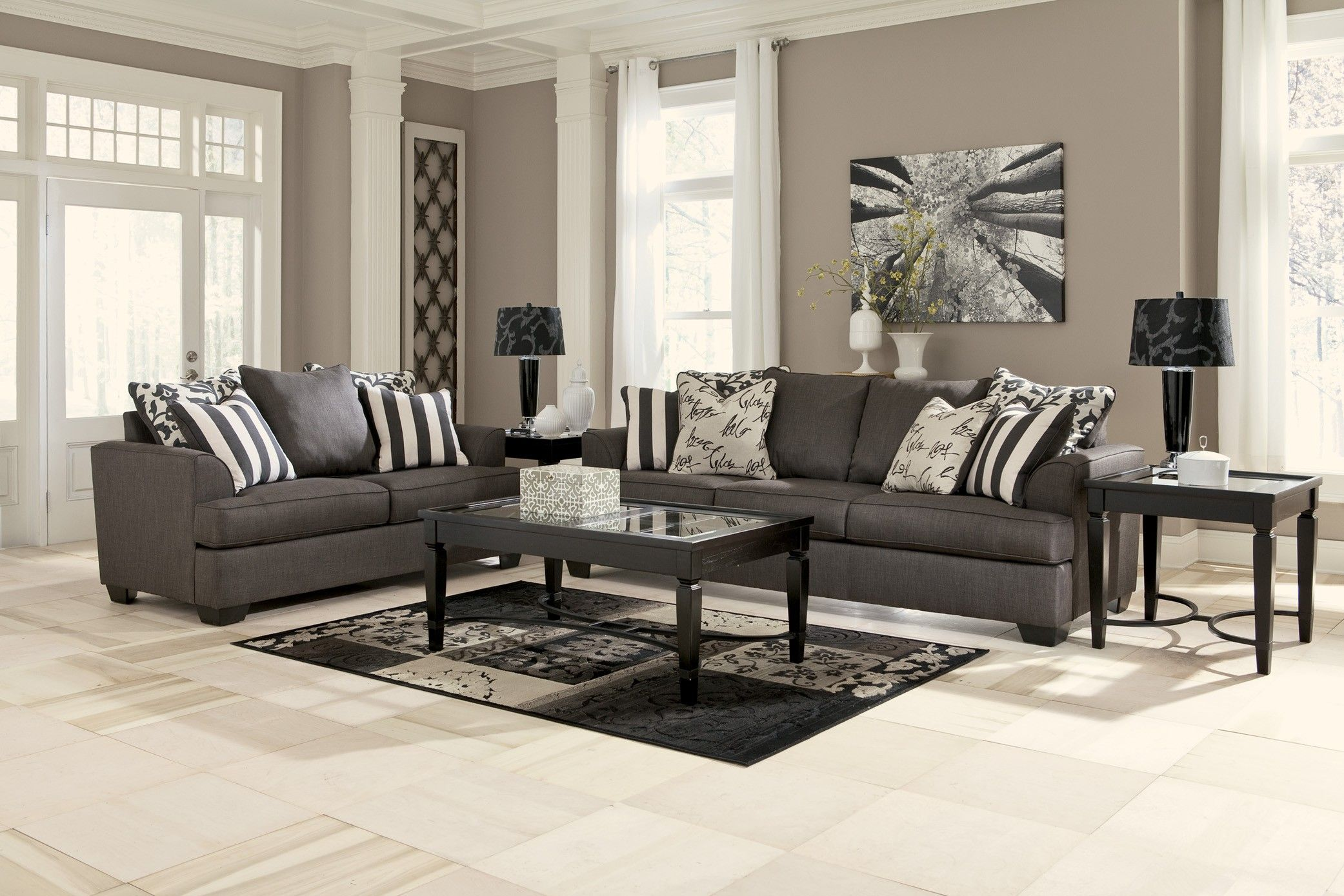 Furniture, Creative Concept For Modern Living Room Grey Decors With Modern Charcoal  Sofa And Corner Idea