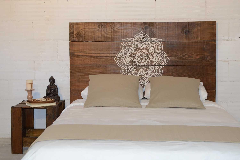 Cabecero cama madera artesanal mandala de mukali home - Cabecero de cama de madera ...