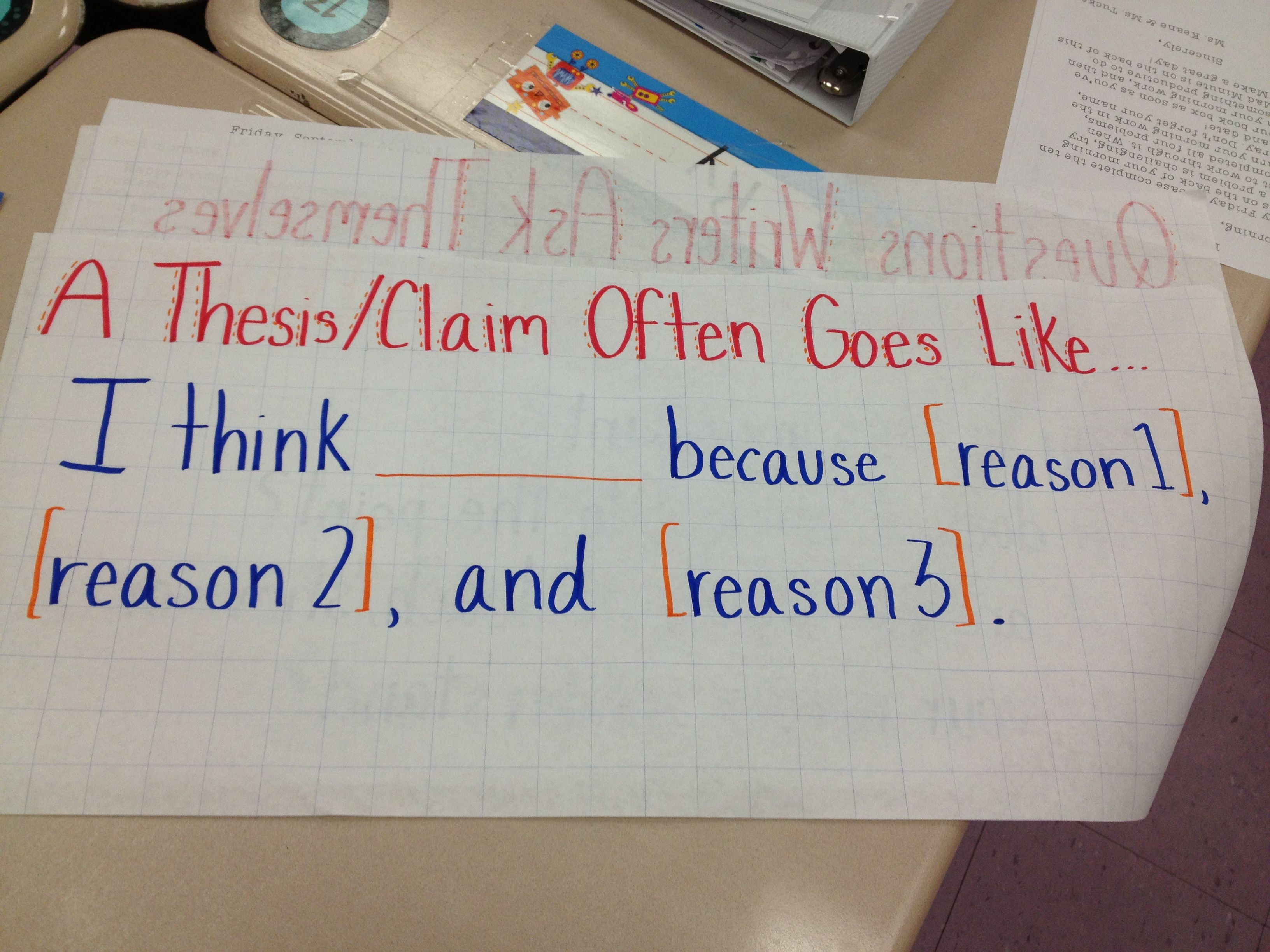 thesis statement  opinion writing  anchor charts   fourth  thesis statement  opinion writing
