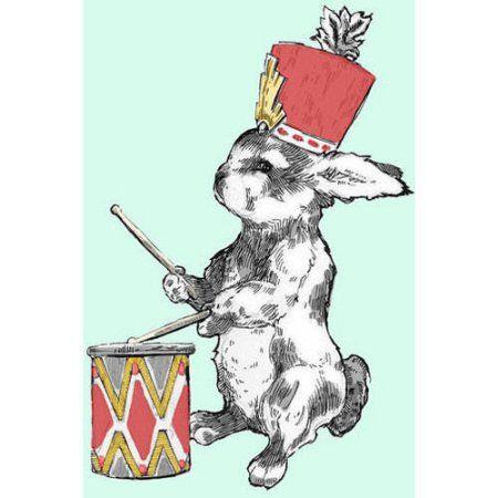 Oopsy Daisy - Bunny Drummer Canvas Wall Art 14x18, Anna Burnett