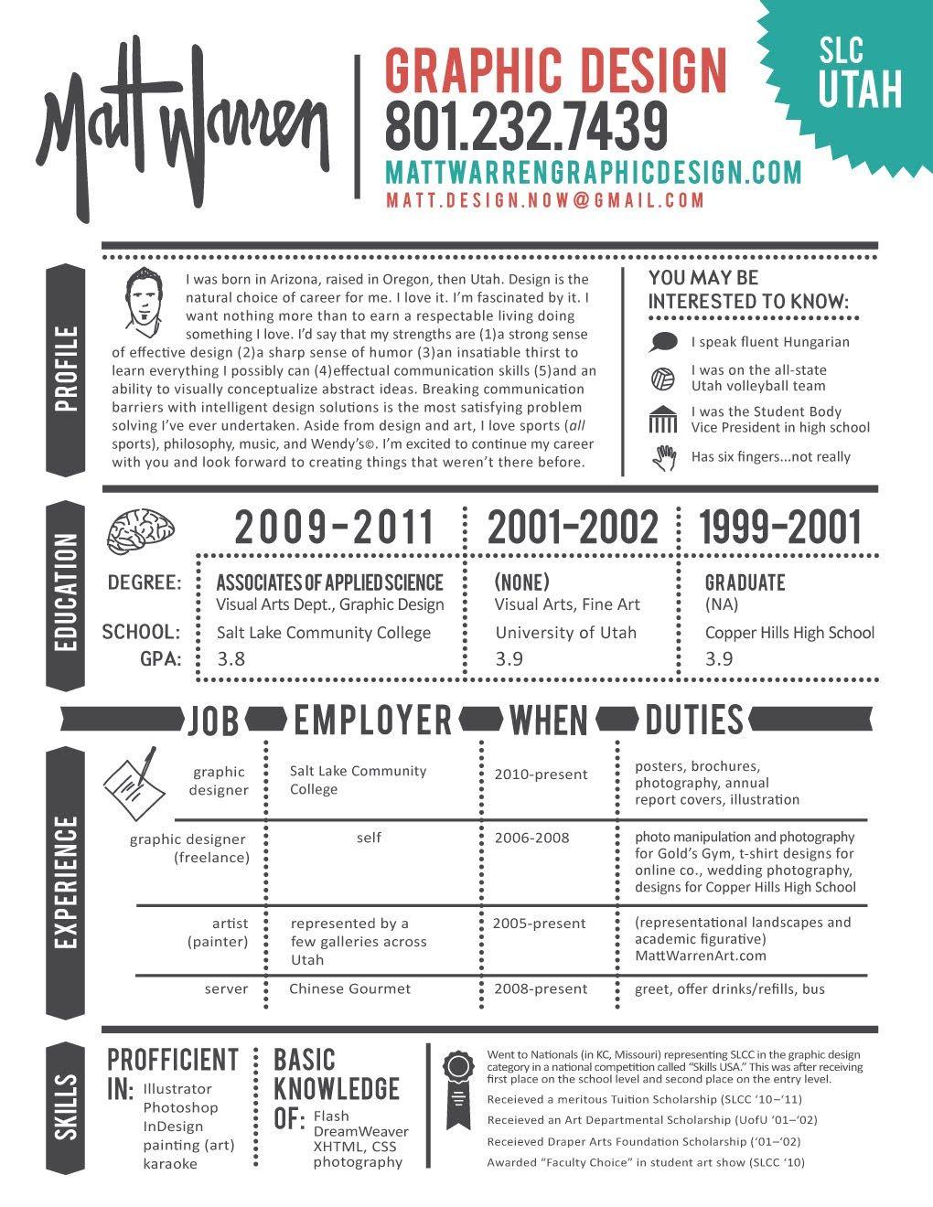 Matt Warren Graphic Design Resumé design Graphic
