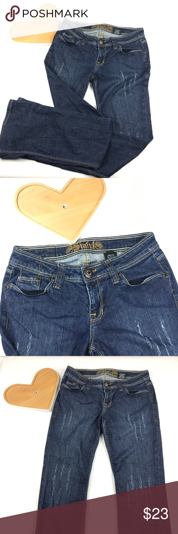 Sinful by affection distressed jeans Cute pair of jeans nice detail pockets size 28 Affliction Jeans Boot Cut