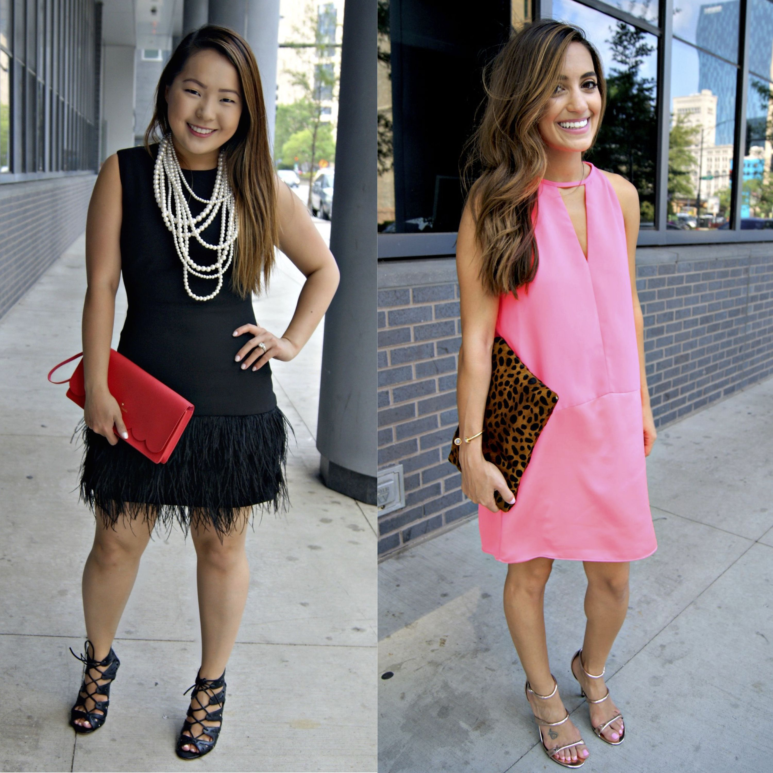 Date Night With Rent The Runway Pt 2 Lbd Black Dress With Feathers White Pearls Lace Up Heels Hot Pink Dress Hot Pink Dresses Lbd Black Dress Lace Up Heels [ 3000 x 3000 Pixel ]