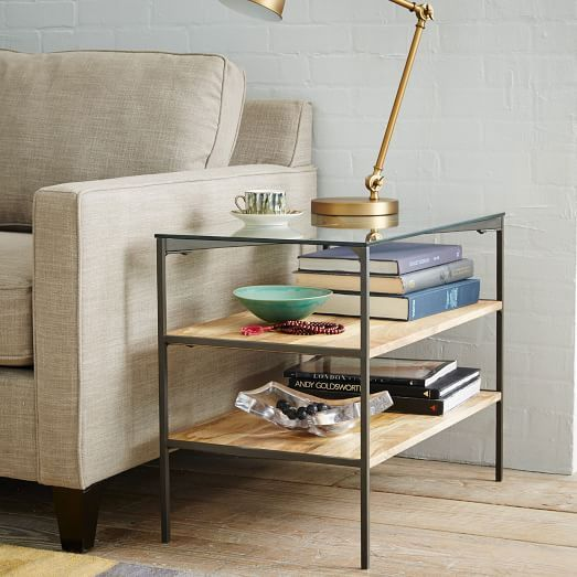Glass-Topped Industrial Storage Side Table & Glass-Topped Rustic Storage Side Table | West Elm | w i s h l i s t ...