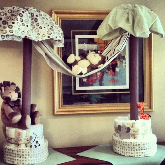 Jungle Themed Palm Tree Diaper Cake For A Baby Shower