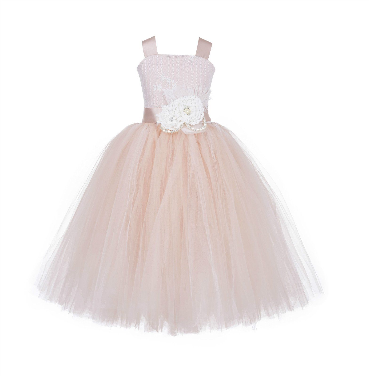 7926c45d531 Tutu Tulle Criss-Cross Back Lace Tulle Flower Girl Dress Wedding Pageant  Toddler Princess Holiday Gown Easter 119