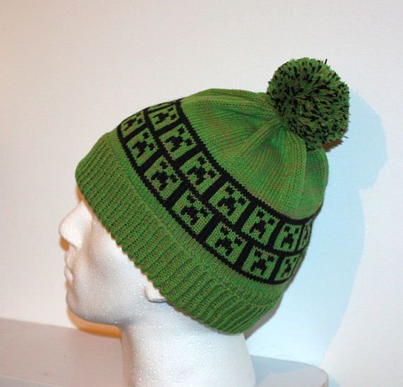 9f08e5ad2b7 Grass Green beanie hat with Minecraft Inspired Creeper - with or without  pompom option - Christmas in July