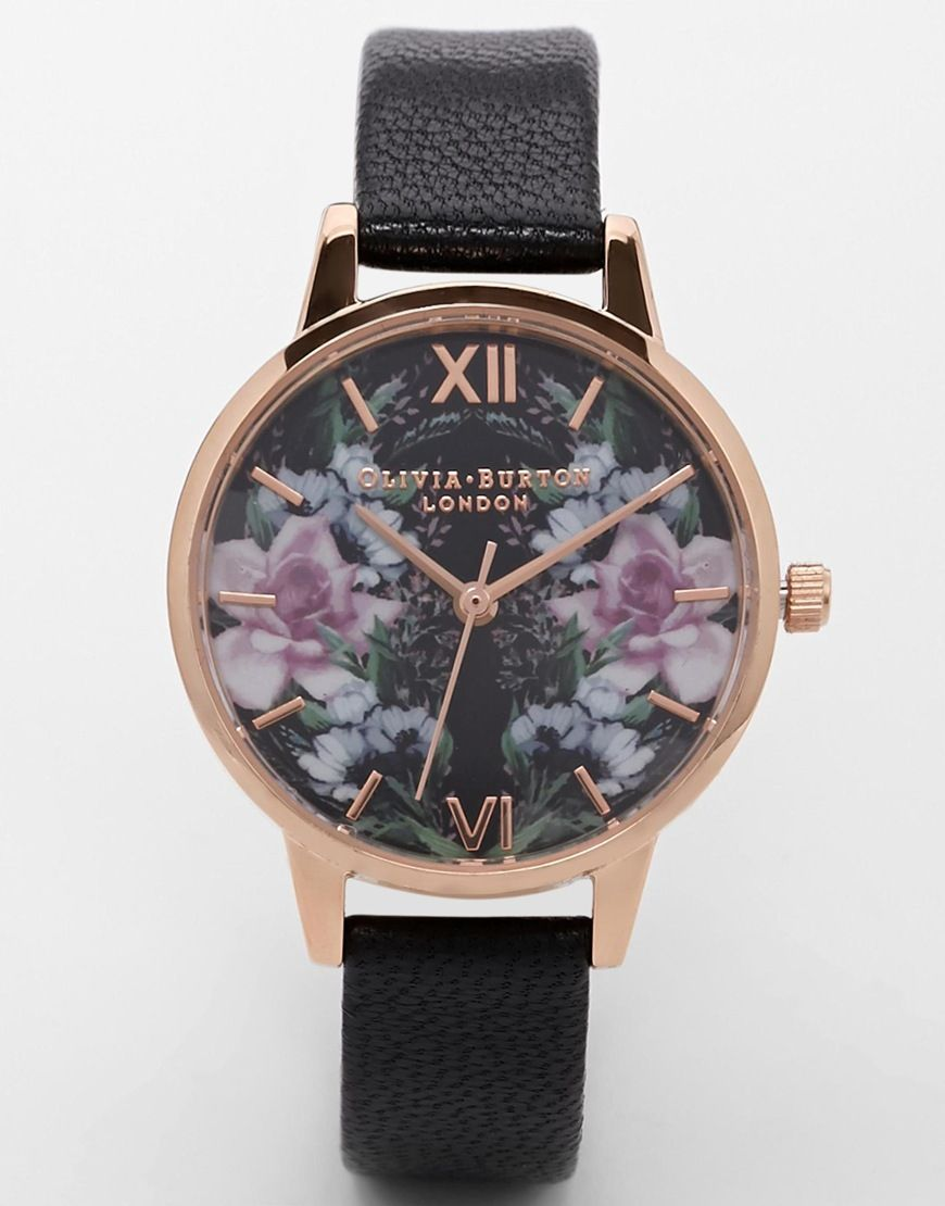 Olivia burton winter florals mirror floral watch accessories fashion watches jewelry for Winter watches