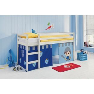 Fun Shorty Mid Sleeper Bed Frame With Blue Tent White From