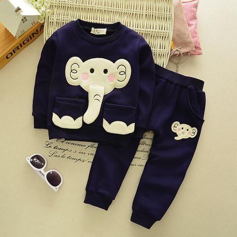 Kids Clothes Autumn/Winter Baby Boys Girls Cartoon Elephant Cotton Set Children Clothing Sets Child T-Shirt+Pants Suit