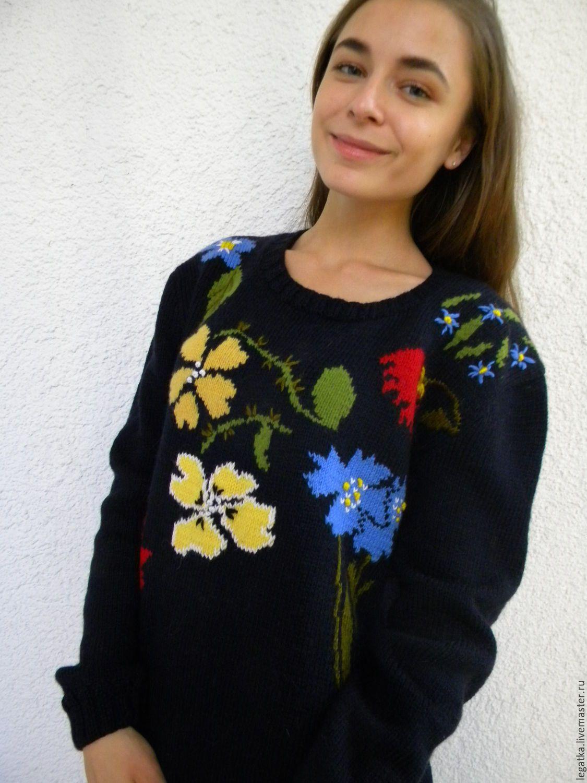 """Купить Джемпер с вышивкой """"Полевые цветы"""". - черный, свитер вязаный, свитер теплый, свитер с рисунком"""
