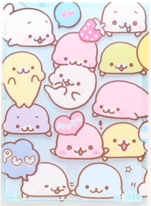 pale blue Mamegoma baby seals A4 plastic file folder | Kawaii ...
