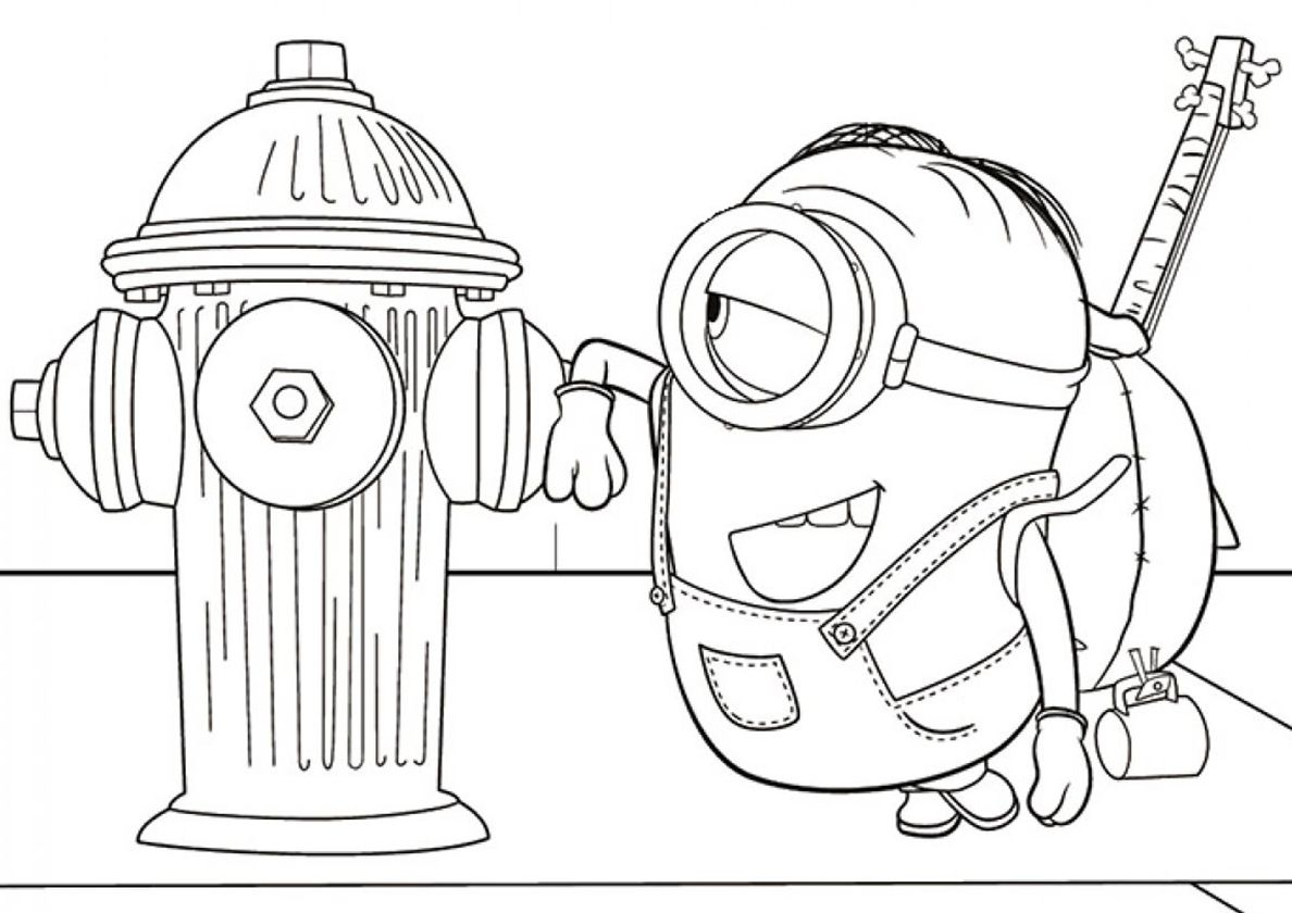 Stuart Meets Fire Hydrant High Quality Free Coloring Page From The Category Minions More Print Minions Coloring Pages Cartoon Coloring Pages Coloring Pages