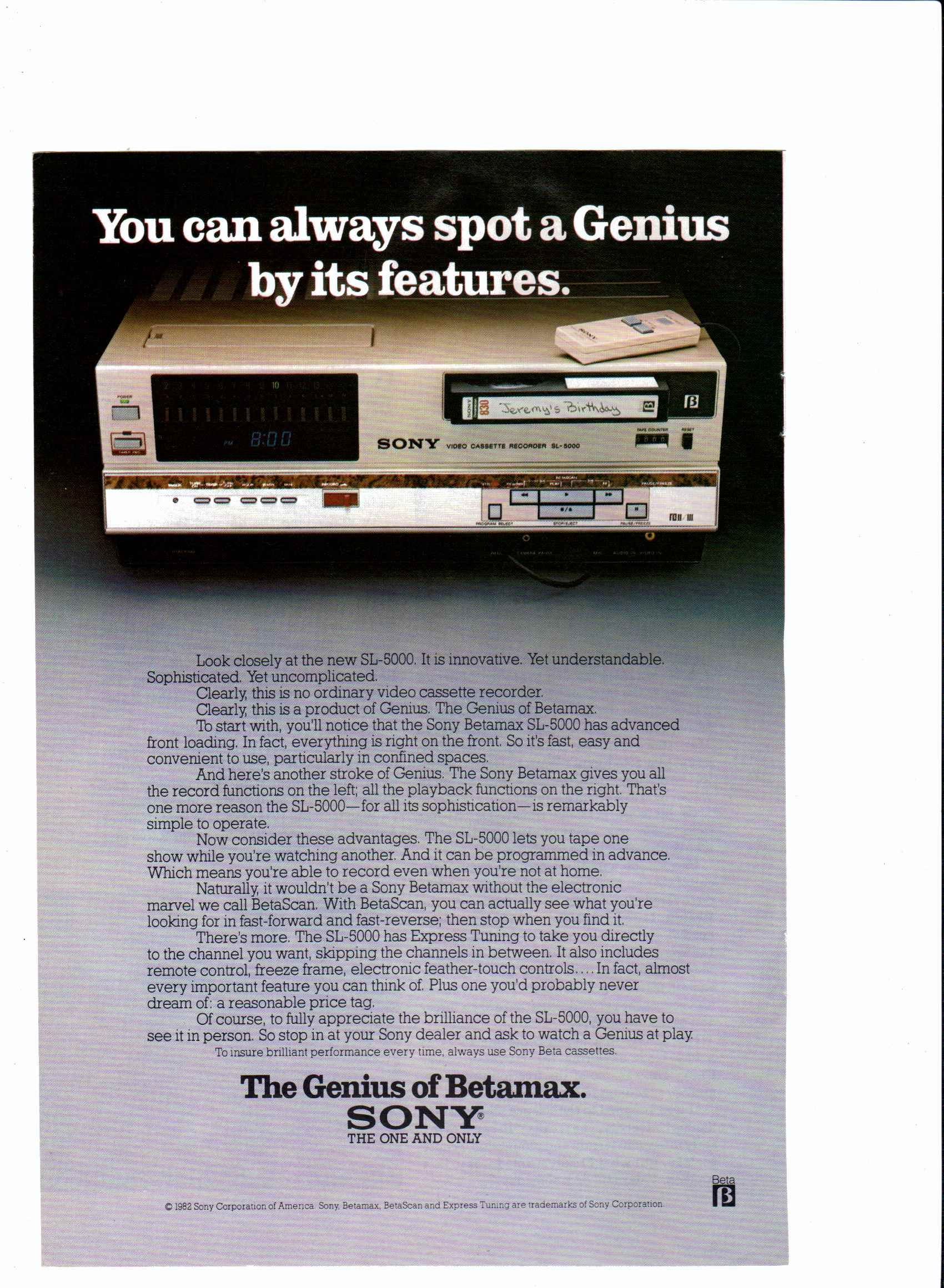 1982 Sony Betamax Sl 5000 National Geographic February 1982 Rendez Vos Souvenirs Durables Avec Www Remix Numeri Sony New Electronic Gadgets Sony Electronics