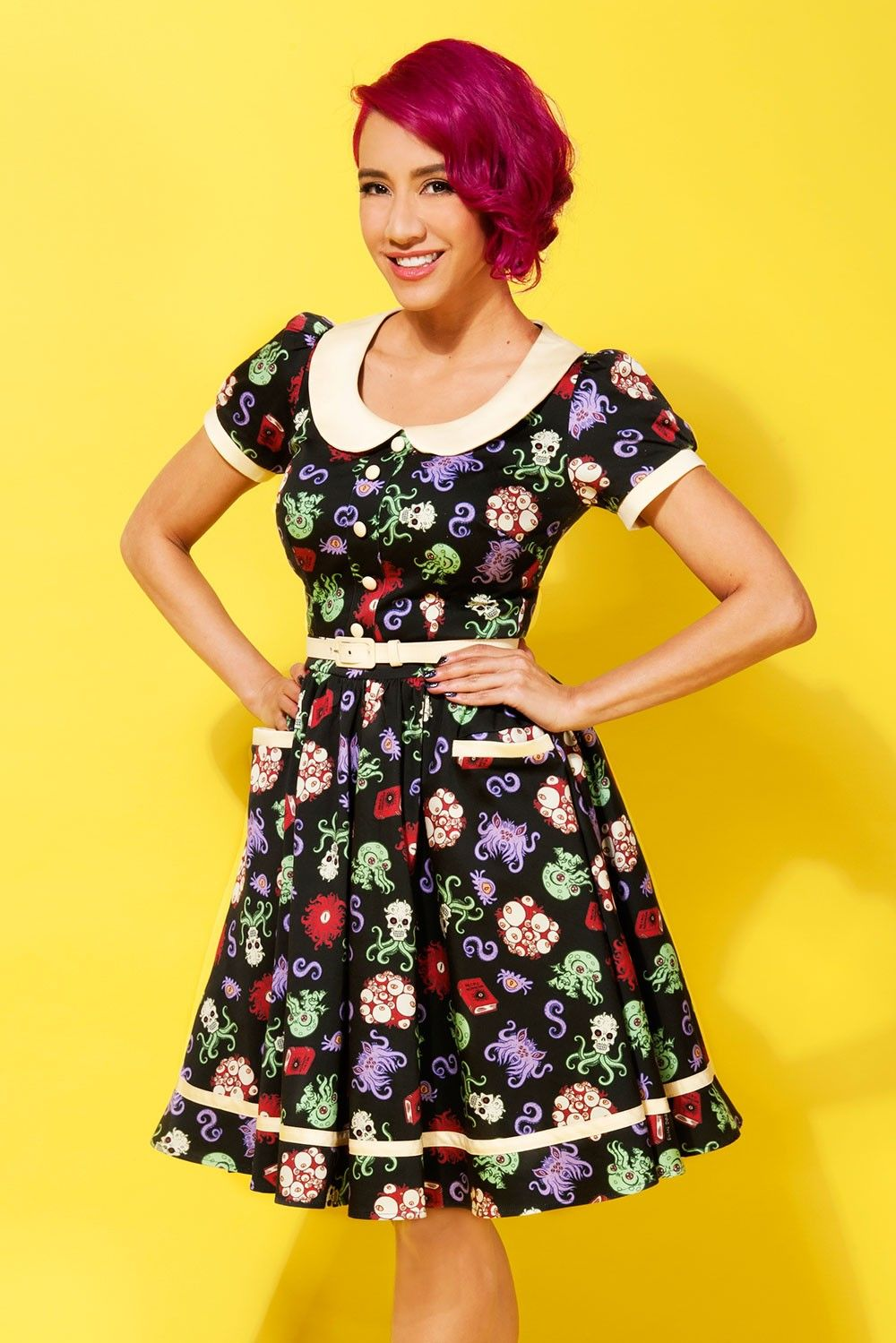 Pinup Couture Dee Dee Dress in Baby Cthulhu Print | 50\'s style ...