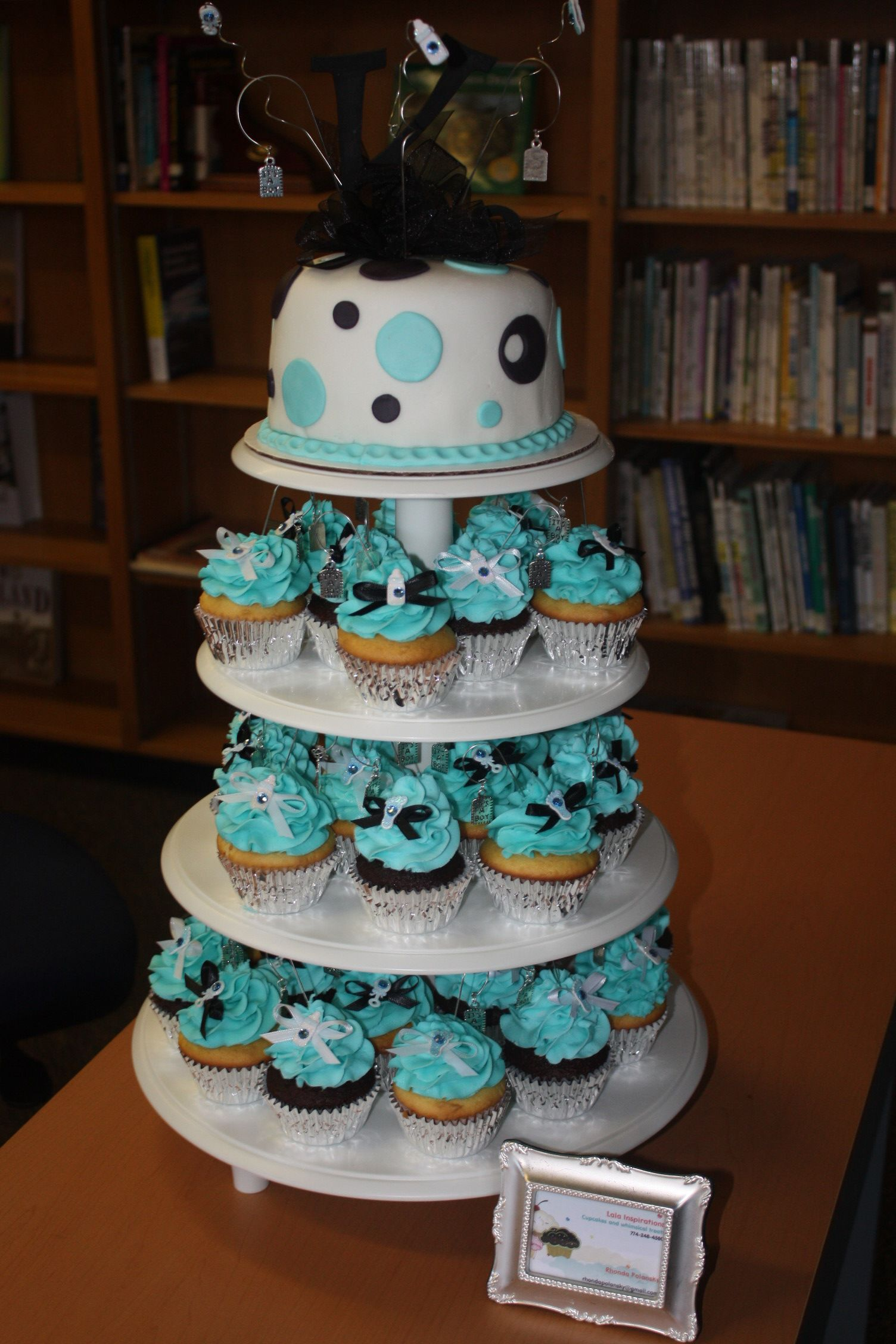 Charming Boy Baby Shower Cupcake Tower