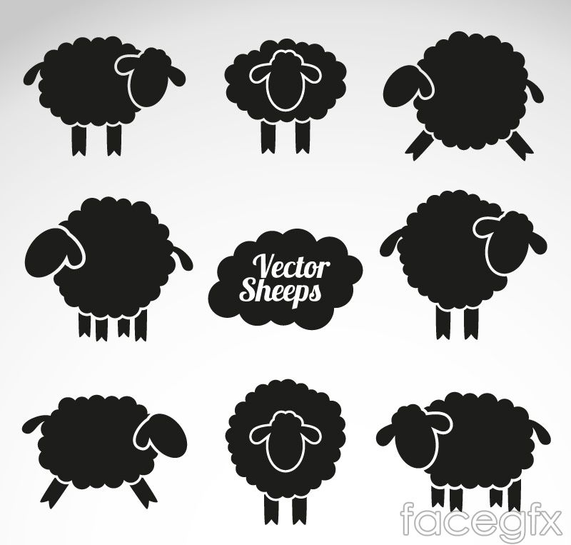 8 sheep silhouette vector | Appliqué embroidery | Pinterest | Animal ...