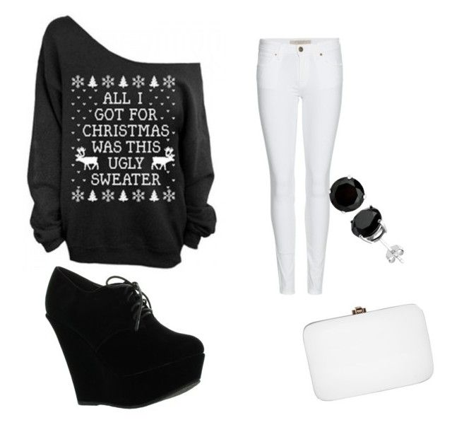 """crismas black and White"" by aichaoulmekki ❤ liked on Polyvore featuring Burberry, Forever Link and Rocio"