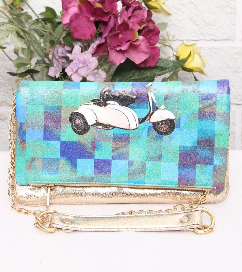 Blue & Gold Scooter Skinny Clutch #indianroots #ethnicwear #accessories #bags #clutch