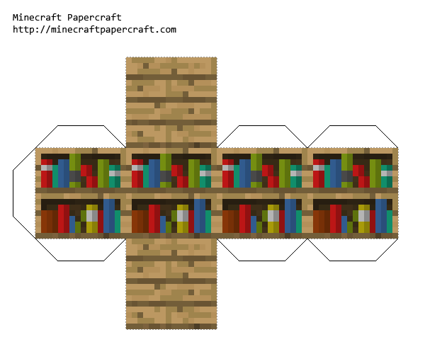 Minecraft Papercraft Bookshelf