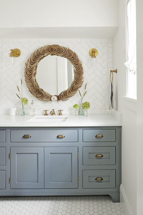 bathroom vanity made to look like a furniture piece, love ...