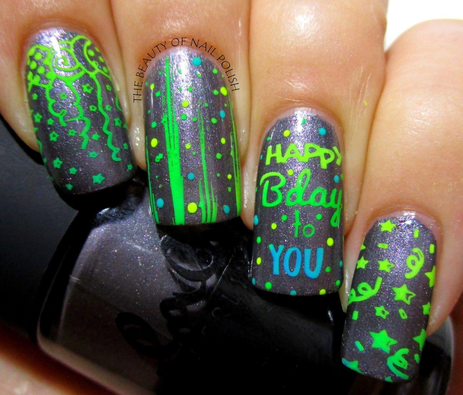 Festive Happy Birthday 02, Pet\'la Plate Fireworks | nail stamp 2 ...