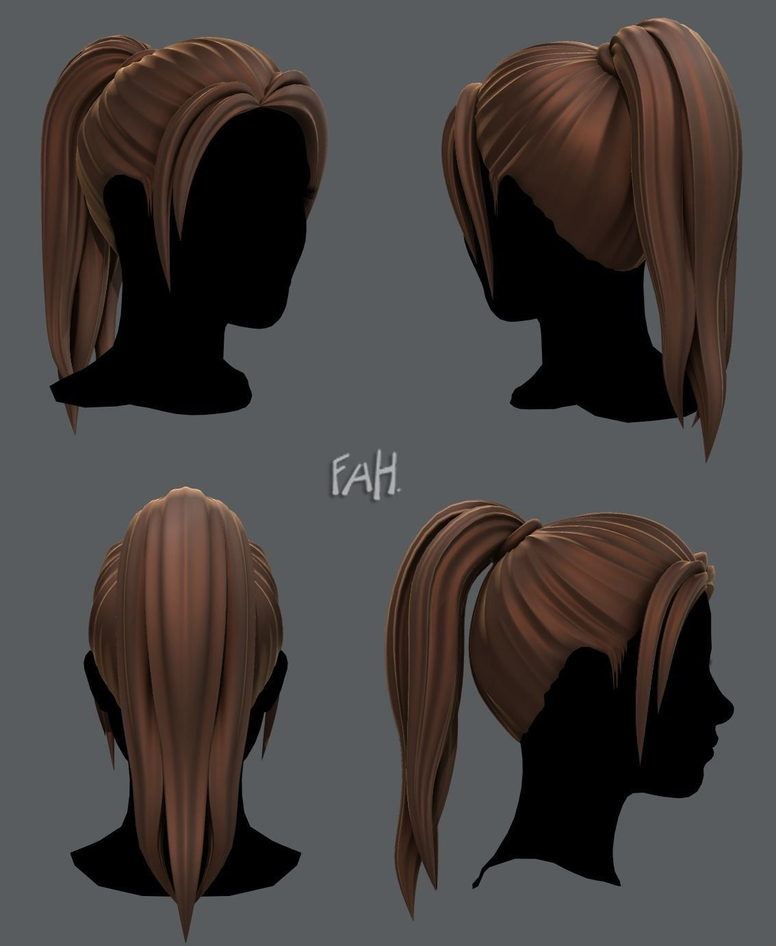 3d Hair Style For Woman V02 3d Model Ponytail Drawing Zbrush Hair 3d Model