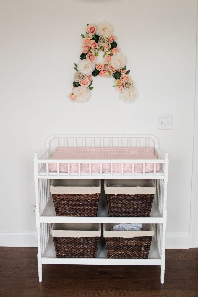 Pink Painted Changing Table Instead W/ White Pad But Like The Idea Of Dark  Woven Baskets Underneath