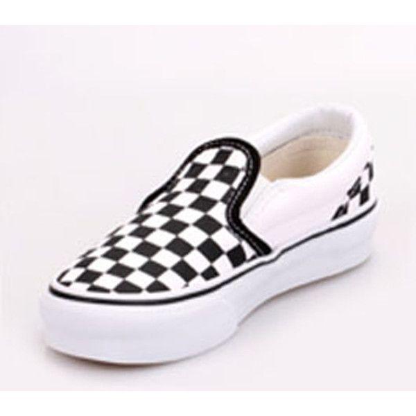 f77cc7fe4491 Vans VN-0LYGCK2 Youth Classic Slip On Black True White Checker Shoes via  Polyvore