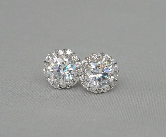 Halo Stud Earrings Crystal Bridal By Crystalavenues