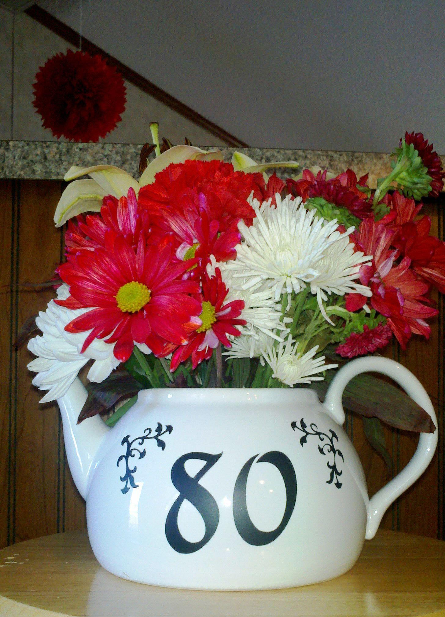 Teapot flower arrangement wcricut vinyl made for 80th birthday tea teapot flower arrangement wcricut vinyl made for 80th birthday tea party front izmirmasajfo