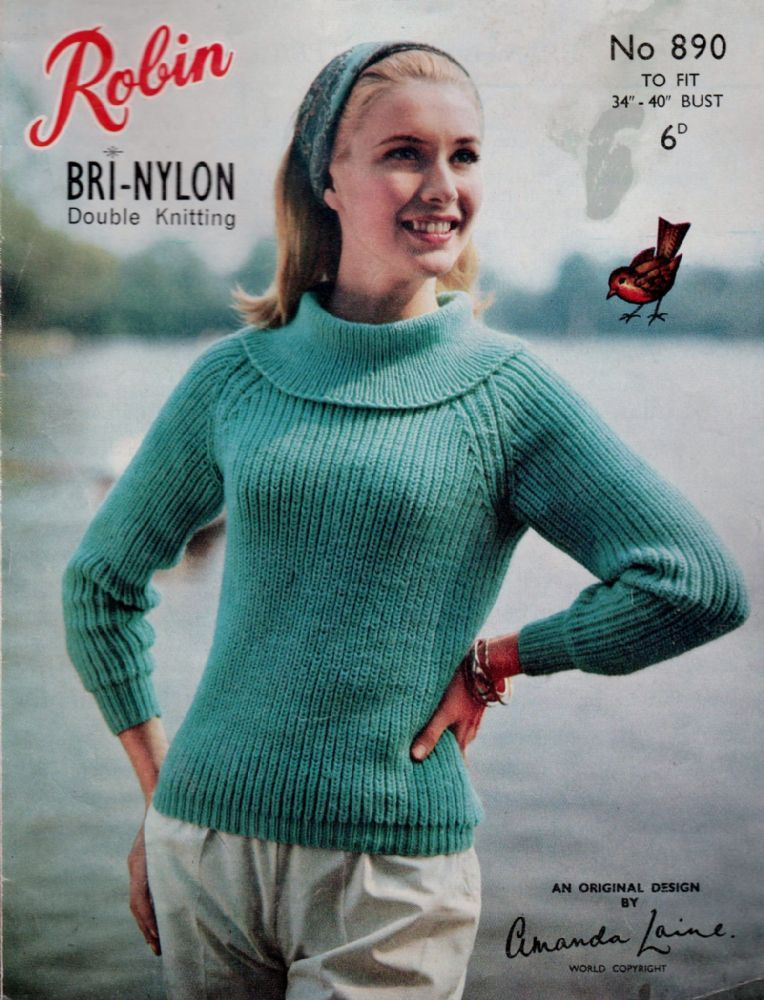 21c6b8ab8940 PDF Digital Download Vintage Knitting Pattern Robin 390 Ladies Sweater  Pullover Neat Flat Cowl Collar Bust