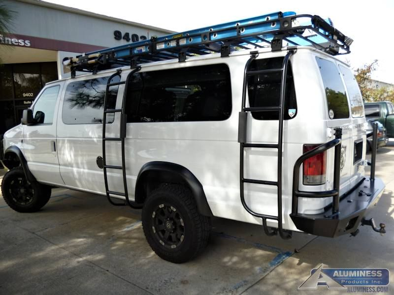 aluminum off road rear bumper and ladders on a ford econoline van sportsmobile pinterest. Black Bedroom Furniture Sets. Home Design Ideas