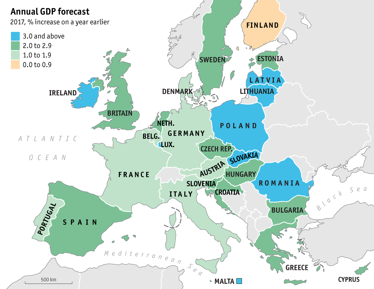 GDP Growth Forecast For Europe, 2017.