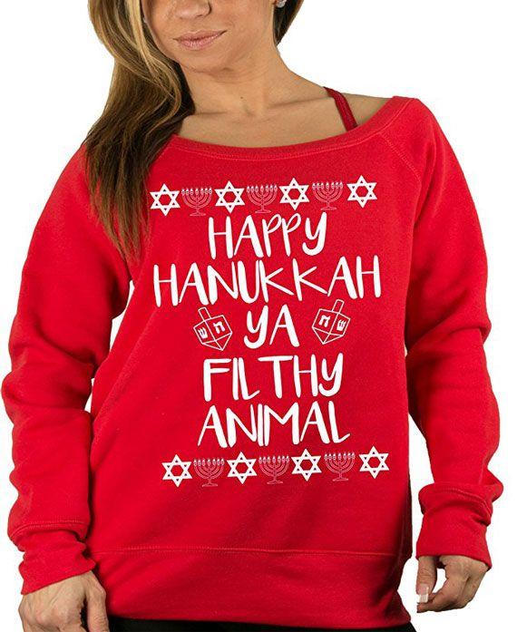 """Happy Hanukkah ya filthy animal"" Sweater #HanukkahGiftIdeas #Hanukkah"