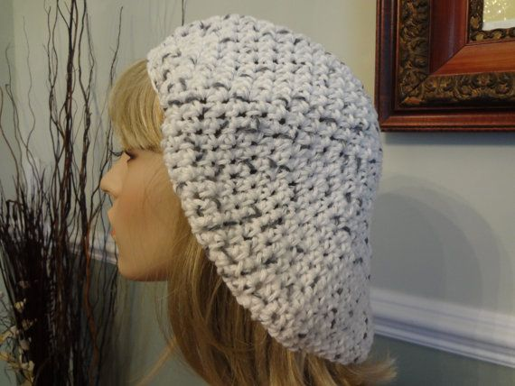 Cotton White with Gray/Black  Flecks Slouch Tam Hat by yarnnscents