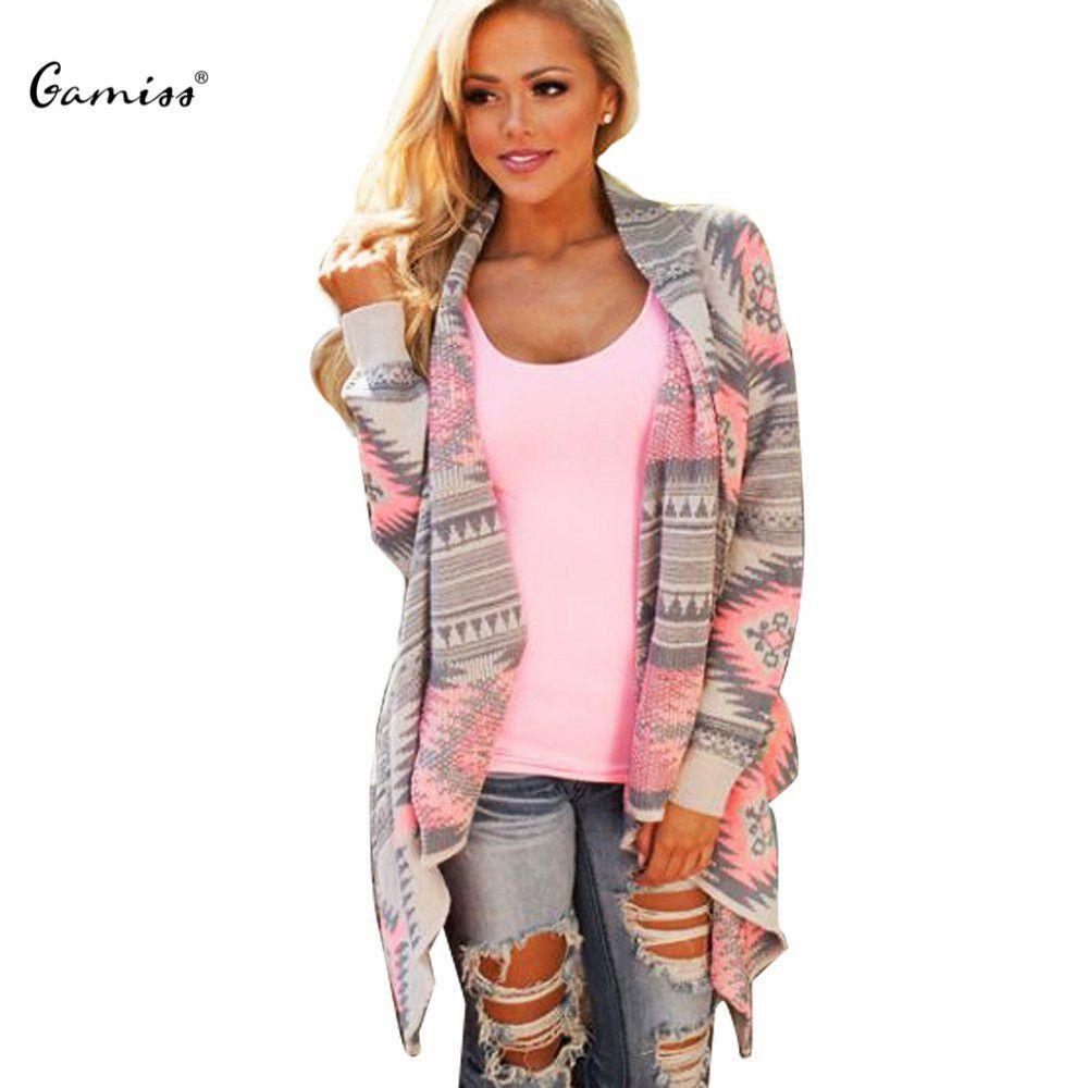 2016 Women Cardigan Pink Long Cardigans Poncho Collarless Long ...