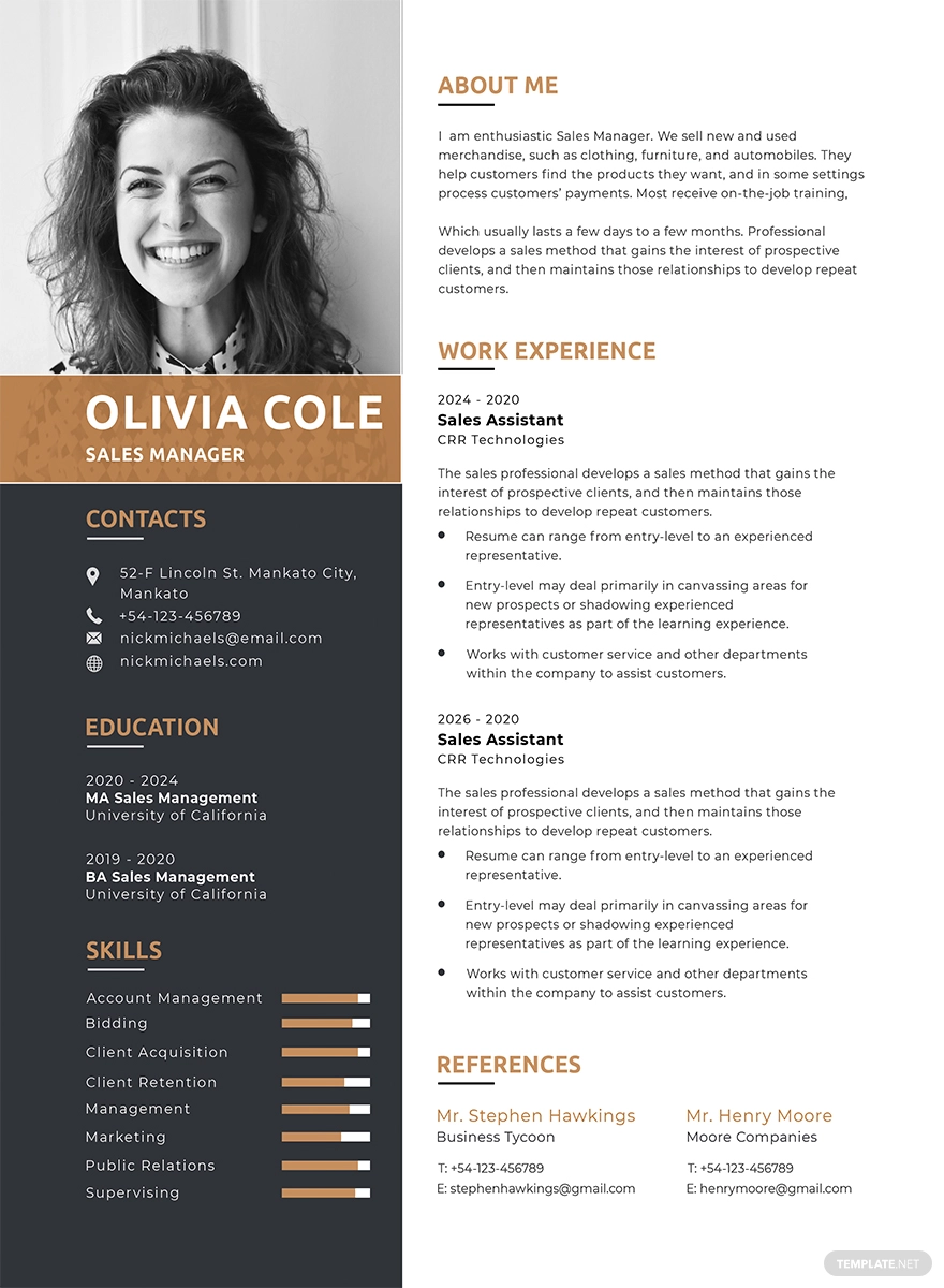 Free One Page Resume Cv Template Word Doc Psd Indesign Apple Mac Pages Illustrator Publisher One Page Resume Template One Page Resume Indesign Resume Template