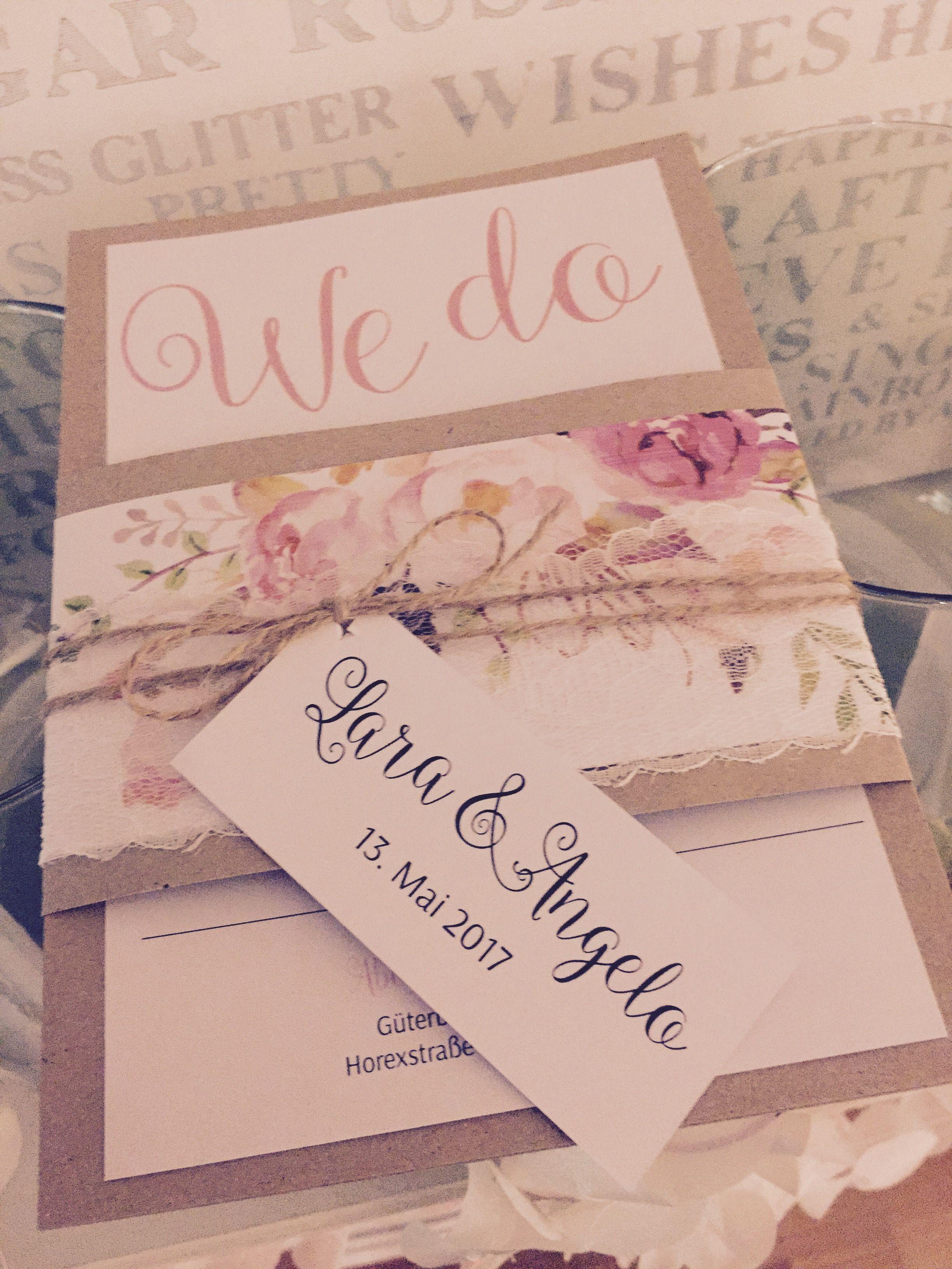 Einladungskarten Für Hochzeit Vintage Mit Aquarell Blumen , Watercolor,  Kordel Und Kraft Papier   Hand
